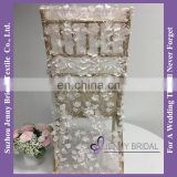C437A blush lily petal flower chair sash fancy high back dining room chair covers for weddings