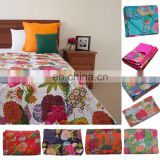 IHandmade Quilt Vintage Kantha Indian Bedspread work Throw Kantha Stitch Cotton Blanket Bedding Bed cover Hand quilted Wholesale