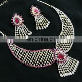 Pink Color Fresh Light -Weight Gold Plated American Diamond Jewelry Necklace Earrings Set