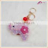 New Designs Crystal Elephant Animal Keychain With Beads Promotional