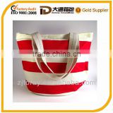 Waterproof Red and White Canvasdiper Bag, Diaper Bag, Nautical Stripe bag, Striped Canvas Tote with zipper closure Bag
