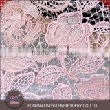 Many years guipure lace of French style 100% polyester net pink embroidery fabric for dress