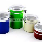 CCHJ-002 Hot house stainless steel tea coffee sugar canister set with different color with ps lid (Accept OEM)