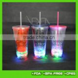 Halloween' new gift! 450ML double wall plastic LED light up tumbler with straw for Halloween party                                                                         Quality Choice