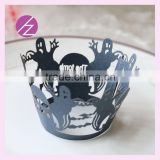 halloween surprise decoration blackpersonalised laser cut lace skeleton cupcake wrappers DG-48