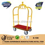 Commercial quality titanium gold-plated hotel luggage cart(X-108)                                                                         Quality Choice
