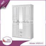 Bedroom furniture modern cheap wooden wardrobe cabinet white glass mirrored armoire with 2 drawers