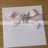 Hot sale & new arrival elegant white glitter wedding invitations with laces&pearl brooches&pink ribbons