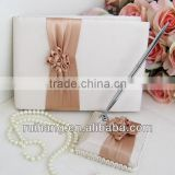 Elegance Apricot handmade flower wedding guest book /wedding pen holder/wedding accessories series--WA003