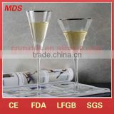 Unique high quality gold rimmed champagne glass