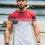96% Cotton 4% Spandex Men's slim fit T-shirt, Short sleeves, Crew neck Maroon Cut & Sew T Shirt