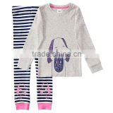 High Quality Cheap Kids Girls Long Sleeves Dog Printed Striped 100% Cotton Knit Jersey Sleep Pajama Set