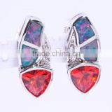 925 Sterling Silver Young Girl Triangle Opal Earring Red Ruby Stone Earring