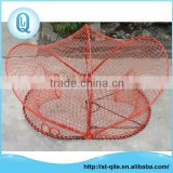 Professional high strength oval metal frame red pe net folding crab lobster trap