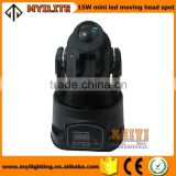 Factory guangzhou led mini spot stage Show Color Strobe Effect Cheap 15W LED Mini Moving Head