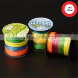China supplier 4/8 strand 300M multifilament pe fishing line yellow/orange,braided wire