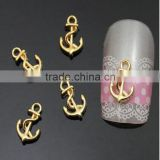 2016 New 3D Nail Manicure Decor Golden Metal Ship Anchor Design DIY Nail Decoration Tools For Manicure Tools
