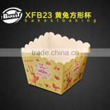 XFB23 BAKEST hot sale square shape lovely rabbit pattern cake paper cup high temperature resistance baking cake cup