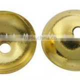 Brass Bead Caps, Plated, Golden Color, Size: about 12x3mm, hole: 0.5mm, 2000pcs/bag(KK-H052-G-5)