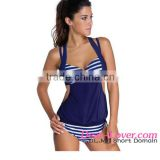 open sexy girl full photo 2pcs Solid Navy Striped Halter Tankini Swimsuit