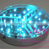 Wholesale acrylic ice crystal Decoration Mirror Round Led Battery Operated Under Vase Light Base