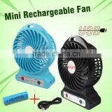 Strong wind three gears speed portable mini rechargeable standing fan