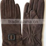 brown sheep suede gloves for women