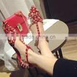 2016 Hot Sell Latest rivet flat shoes Red color daily dress shoes wedding low heel bridal shoes