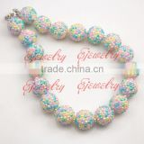 Big beads Colorful rhinestone beads Chunky bubblegum necklace girl statement chunky Necklace CB659