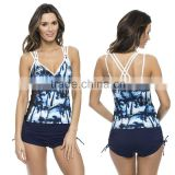 Spaghetti Strap Coconut Tree Digital Printing Sexy Women Bathing Suits Beach Tankini PW- SMR8074