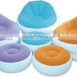 Inflatable sofa bed outdoor or indoor with comfortable armrest and cup holder with/without pump