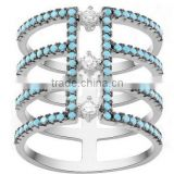 Gps ring fashion jewelry pave CZ cubic zirconia Rings for Women(Turquoise)