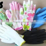 BSSAFETY high stretchable antistatic nylon pu palm coating gloves arc-welder's gloves