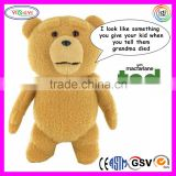 D891 As Seen on Movie Talking Ted Stuffed Toy Official Soft Brown Plush Ted