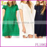 New 2015 Hot Sale Fashion Short Sleeve Women's Lace Crochet Dress Cocktail Party Princess Casual Dress Wholesale