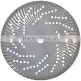 Waved turbo diamond saw blade for hard & dense material with multi hole steel core----GEAF