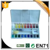 Fast delivery,better price,wholesale Water color cakes with 18clrs,1pc Founding Watercolor Brush,1pc natural sponge,1pc of ceram
