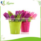 Modern western style artificial flower decorative handicraft article small decorative galvanized metal small flower buckets