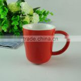 Stocked 80ml colorful glazed ceramic coffee mug/cup , cheap ceramic beer mug with special handle standard for daily use