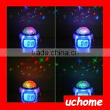UCHOME Digital children style star projector alarm clock with natural music and colorful lights