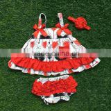 infant baby girls boutique clothing sets toddler outfits baby feather red swing top outfits with match headband