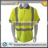 Hot sale Europe polyester birdeye breathable fluroscent safety sew-on high visibility polo shirt
