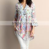New Design Women Tops With Light Blue Paisley Chiffon Notch Neck Bell-Sleeve Tunic Women Blouse Women Clothes GD90426-29