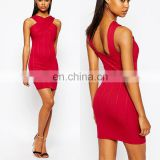 Wholasale Sexy Ladies High Neck With Bandage Style Mini Red Bodycon Dress