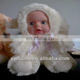 Baby rubber wearing white suit clothes doll