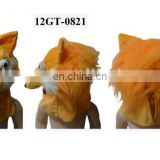 Plush animal fur party hat -orange Fox