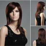 Women's Medium Long Bouffant Straight Hair Wig with Sided-Swept Bangs -Dark Brown