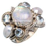 RARE RAINBOW MOON STONE 925 STERLING SILVER RING ,925 STERLING SILVER JEWELRY WHOLE SALE,JEWELRY EXPORTER