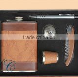 Gift Box hip flask sets , stainless steel flagon wine bottle for promotion Men's gift set