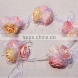 fancy love flower garland rose artificial flowers ball rose garland with ribbon, silk flowers